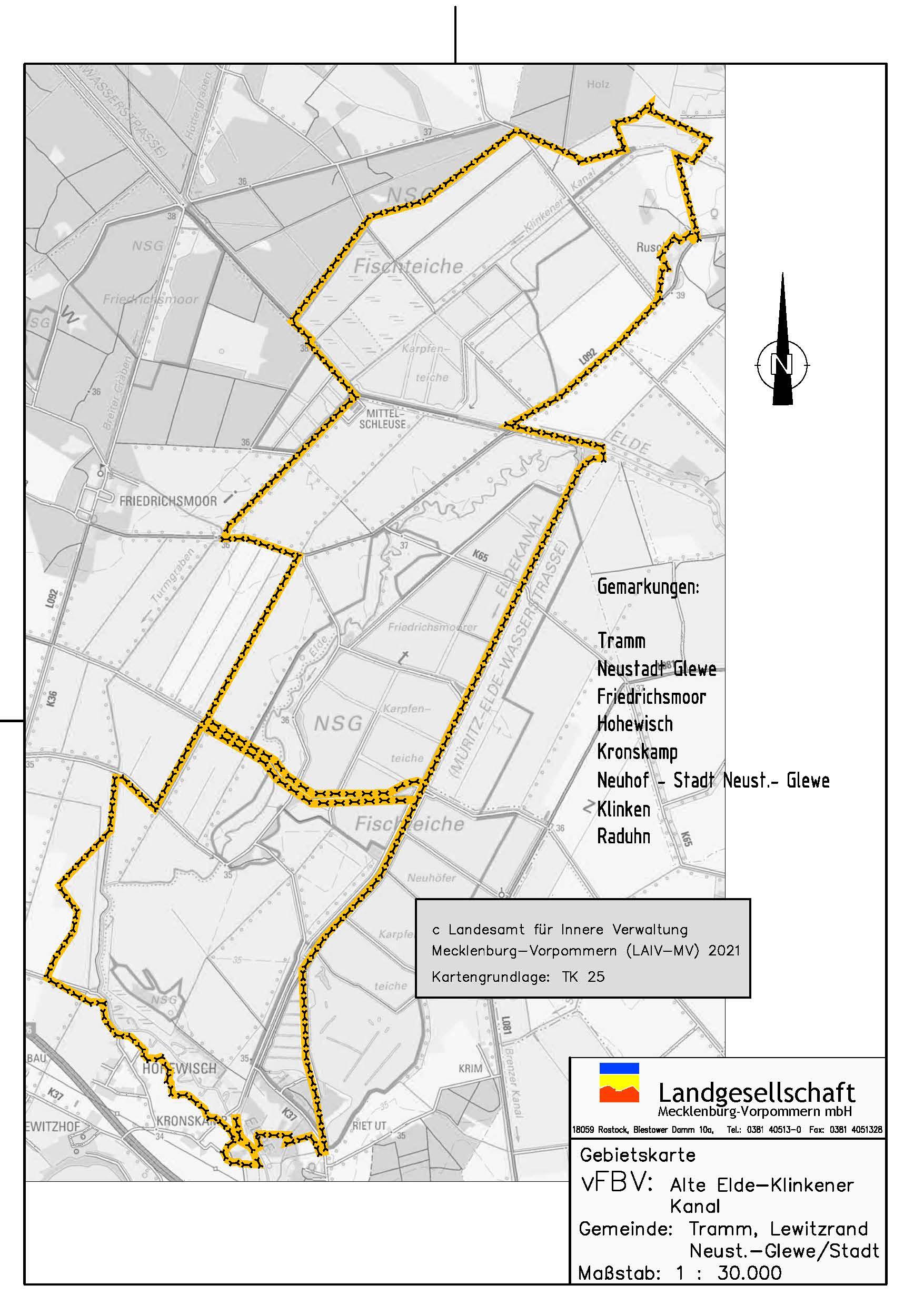 Gebietskarte vFBV Alte Elde_Klinkener Kanal